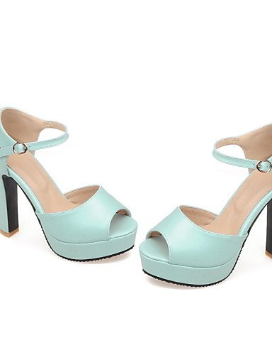 LFNLYX Chaussures Femme-Décontracté-Bleu / Rose / Blanc-Gros Talon-Talons / Bout Ouvert-Sandales-Similicuir Pink