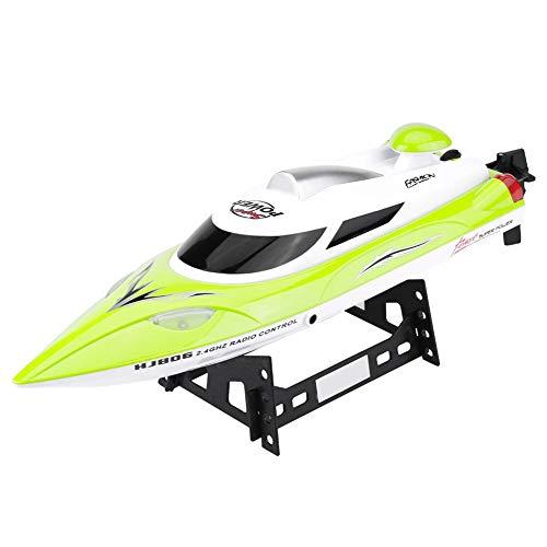 Dilwe RC Speed Boat Spielzeug Geschenk, HJ806 2,4 Ghz 200 m Fern Fernbedienung Boote für Pool und Seen, mit 540 Motor, Abstand Indikator, automatische Flip-Funktion(Gelb)