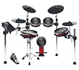 Alesis Crimson II Kit 9-teiliges E-Drum-Set mit Mesh-Heads, solidem Aluminium-Gestell mit 4 Ständern, Sounds, Echtzeit-Aufnahme, Laden von Samples über USB, Anschlusskabel, Drum-Sticks und Drum-Key