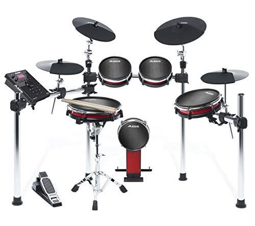Alesis Crimson II Kit - 9-teiliges E-Drum-Set / Schlagzeug mit Mesh-Heads, solidem Aluminium-Gestell, Echtzeit-Aufnahme, Laden von Samples über USB, Anschlusskabel, Drum-Sticks, Drum-Key