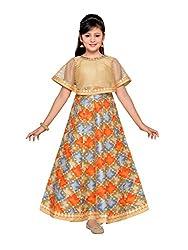 Adiva Girls Party Wear Poncho Dress For Kids (G_1778_FAWN_26)