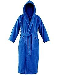 John Christian - Peignoir à capuche en éponge - Bleu Azur - 100% Coton