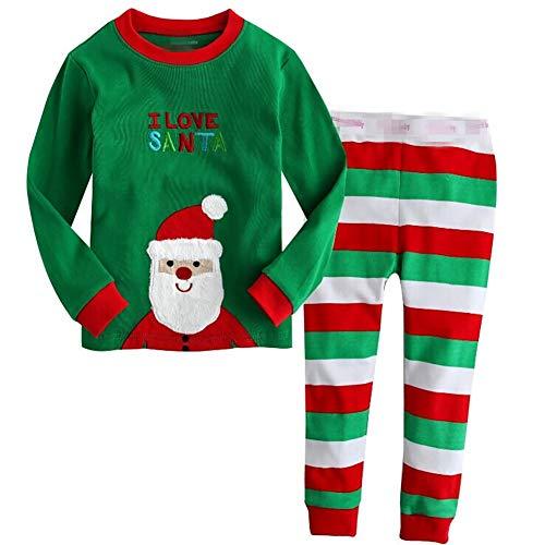 Kinder-weihnachts-pyjamas (ZYCX123 Weihnachten Pyjamas Kinder PJS Satz-Baumwollkleinkind-Kleidung Kinder Nachtwäsche mit Sankt Printed (5T / 110cm))