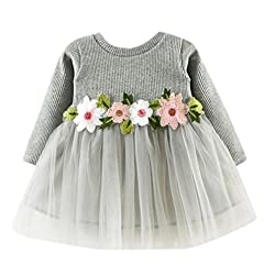 Longra Baby Girls Dress Clothes - Spring Floral Tutu Princess Dress Long Sleeve One Piece Dress Clothes Outfit