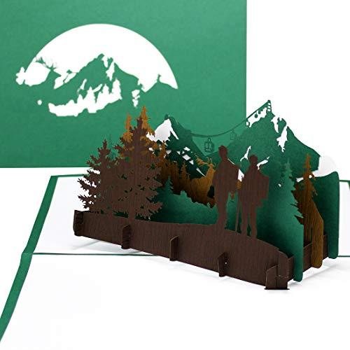 """Grußkarte""""Wandern"""" - 3D Pop Up Karte Wandern und Bergsteigen, Reisegutschein, 3D Geschenkkarte, Geburtstagskarte"""