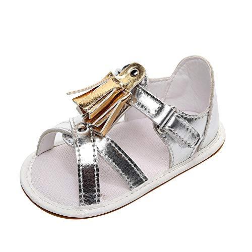 Silber Kid Leder (feiXIANG Baby Lauflernschuhe Quaste Sandale Flache Schuhe Jungen Mädchen Krippe Schuhe PU Leder Infant Kids Freizeitschuhe (Silber,11=3M))