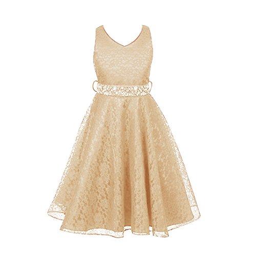Free Fisher - Niñas Vestidos de Princesa Boda Fiesta Vestidos Elegantes Brillantes de Encaje Floreado, Beige 12 años(Tamaño fabricante: 12)