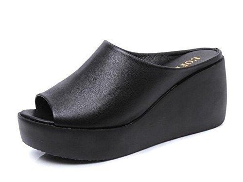 women-peep-toe-sandals-ankle-strap-wedge-waterproof-platform-leather-high-heel-masonry-soles-student