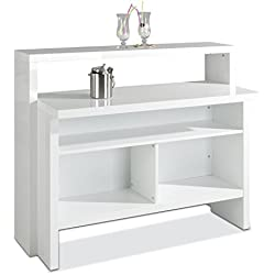 Hausbar Bar Minibar Scully | Weiß Hochglanz | (B/H/T) 130x110x50 cm