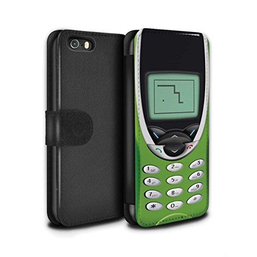 STUFF4 PU-Leder Hülle/Case/Tasche/Cover für Apple iPhone 5/5S / Hellgrün Nokia 8210 Muster / Vintage Handys Kollektion