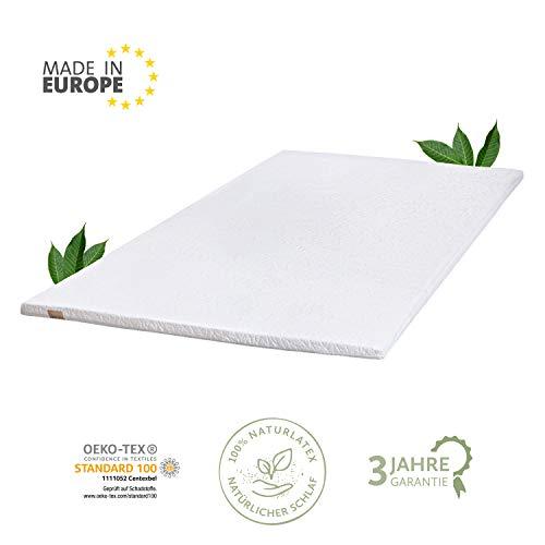JONA SLEEP Naturlatex Topper 200x200 cm Talalay Latex Matratzen-Auflage Öko-Tex Komfort Matress Pad Gästebett Bett Schoner Allergiker-geeignet Abnehmbarer Waschbarer Bezug -
