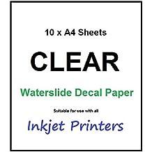 10unidades A4Inyección De Tinta Waterslide tobogán de agua Craft–Hojas de papel de transferencia de papel para transparente