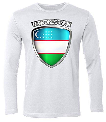FOOTBALL WORLD CUP - EUROPEAN CHAMPIONSHIP - UZBEKISTAN FANSHIRT Uomo manica Lunga Maglietta Taglia S to XXL vari colori S-XXL White