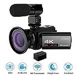 Andoer Caméscope Numerique 4K ave Batterie, Camescope WiFi, Vision Nocturne Infrarouge Full HD 24FPS, 48MP Appareil Photo Caméra Vidéo Numérique Ecran IPS 3.0 Pouces 16X Zoom