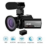 Andoer 4K Digital Videokamera Camcorder Ultra HD 48MP WiFi 3,0 Zoll Touchscreen IR Infrarot Nachtaufnahme 16X Digitalzoom mit 1pc 2500mAh Wiederaufladbare Kamera Akku