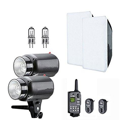 Gowe 2x 250W Foto Studio Strobe Flash Light Kopf mit Trigger & Softbox & Ersatz Modellierung Lampe Foto Studio Strobe Light