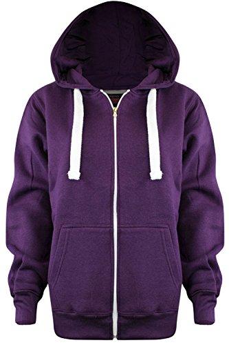 New Ladies Womens PLUS SIZE ALL COLOUR Plain Zipped Hoodies UK SIZE 8-28