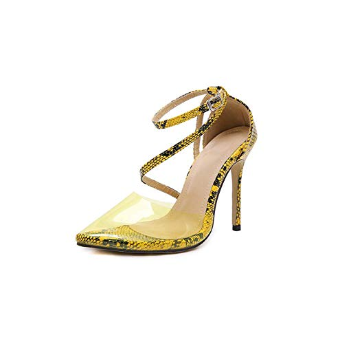 GHFJDO Summer Women Pointed Lucite Clear High Heels, Ladies Loose Comfy Lace Up Color Stiletto Heels Sandalen,Yellow,37EU -