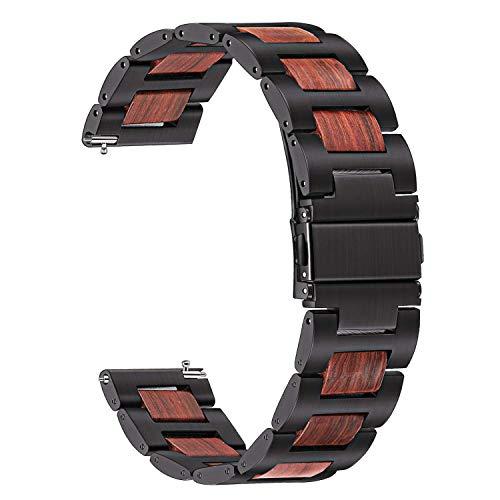 TRUMiRR per Cinturino Orologio Samsung Galaxy Watch 46mm, Acciaio Inossidabile 22mm e Cinturino in Legno di Sandalo Rosso Naturale con Cinturino a sgancio rapido per Gear S3 Classic/Front