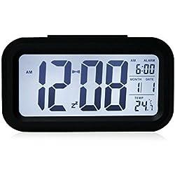 5.3 Simple d'utilisation Silencieux avec LED Alarme Horloge avec affichage de la Date-Fonction Snooze Capteur LumiÚre + Lampe torche (Noir, blanc, éclairage de nuit)