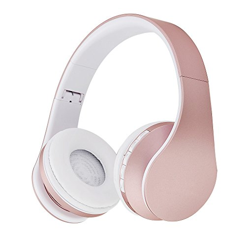 Bluetooth Kopfhörer, Yeehyc 4 in 1 Upgrade Stereo Kabelloser Faltbare Over-Ear Headsets mit Micro Support FM Radio für Smart Phones Tablet PC Notebook (Rose Gold) Bluetooth-gold Headset