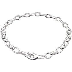 Melina Damen-Charmsarmband Oval 925 Sterling silber 19 cm 1900004