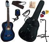 Pack Guitare Classique 4/4 (Adulte) Avec 7 Accessoires (bleu)