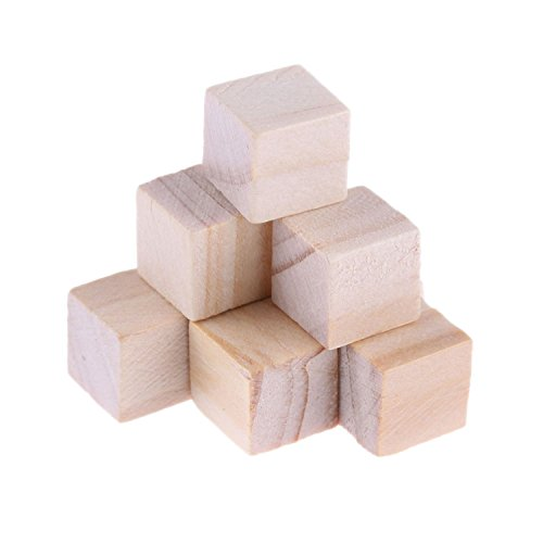 Kurtzy 60 Piece Wooden Cubes/Wooden Squares - 2 x 2cm Small Cube Blocks Set - Natural Blank Unfinished Blocks/Unfinished Craft Cubes for Stamps, Arts & Crafts, Number Projects & DIY