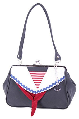 SugarShock Shaleena 50er retro Matrosen Kragen Sailor Kisslock Handtasche vintage style Tasche -