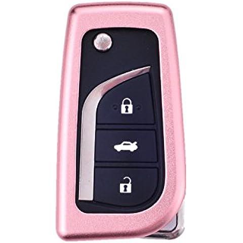 [M. JVisun] auto keyless entry chiave cover Fob Skin per Toyota Levin Camry Highlander Corolla Rav4Fortuner chiave pieghevole, in alluminio guscio protettivo in vera pelle con portachiavi, Rose Gold - 1 De Icer