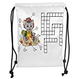 Drawstring Backpacks Bags,Word Search Puzzle,Crossword Game for Children Cute Cat on Beach and Building Sand Castles Decorative,Multicolor Soft Satin,5 Liter Capacity,Adjustable St