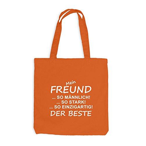 Jutebeutel - Mein Freund- Der Beste - Friend Spaßmotiv Fun Orange
