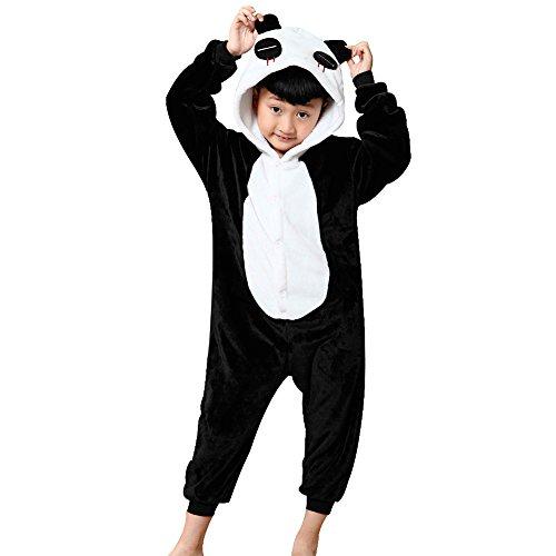 JT-Amigo Kinder Pyjama Strampler Schlafanzug Tier Kostüm für Halloween Karneval Fasching, Panda Kostüm, Gr. 128/134 (Herstellergröße 115/130)