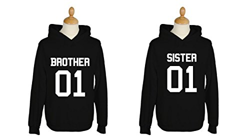 634759d707d4 FabShirts - Hoodie BROTHER SISTER 01. Sweater Damen   Herren Pullover  Schwarz Partner Bruder Schwester