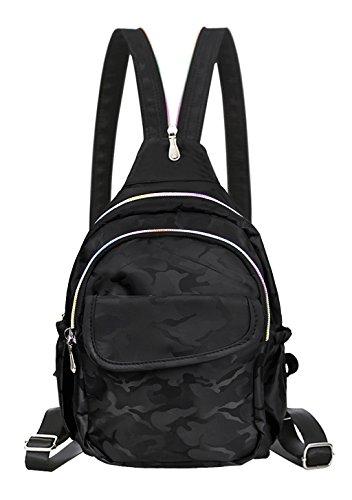 Damen Rucksack Umhängetasche floral Mädchen Brusttasche Oxford Tuch koreanische für Schüler Outdoor Freizeit Schwarz