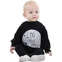 MICHLEY Bebé Niño Niño Mono Algodón Negro Y Gris, One-piece Bebé Mameluco, Primavera, Ropa de Otoño Para Bebés por 4-9 meses