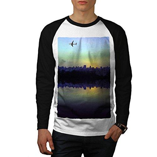 Stadt Ebene Reise Mode Stadt Fluss Aussicht Men M Baseball LS T-shirt | Wellcoda (Fluss-baseball-jersey)
