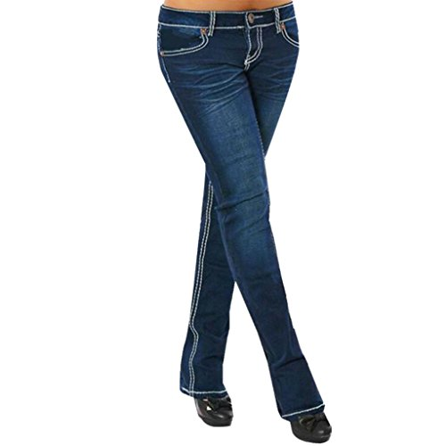 2e0fb1c0e07f UFACE Damen Women s Thick Gestickte Gerade Mid-Waist Stretch Jeans  Stickerei Skinny Pencil Denim Jeans Stretch Schlanke Fitness Hosen Hosen  (2XL, ...