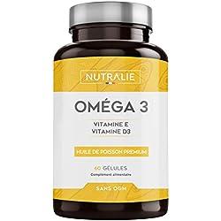 NUTRALIE | Oméga 3 | Huile de Poisson de Qualité Supérieure | 900 mg de EPA et 350 mg de DHA par dose | Hautement Concentrée en Vitamines E et D3 | 60 Capsules