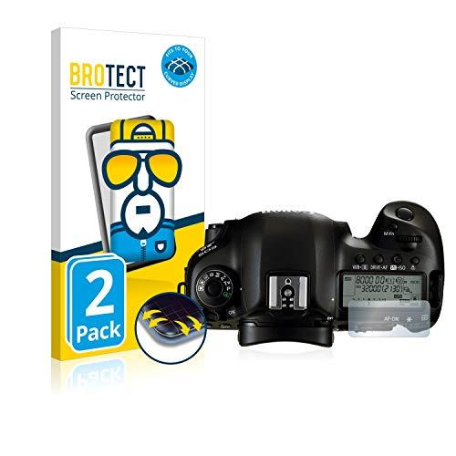 BROTECT Full-Cover Schutzfolie kompatibel mit Canon EOS 5D Mark IV (Schulterdisplay) (2 Stück) - Full-Screen Displayschutz-Folie, 3D, Kristall-Klar
