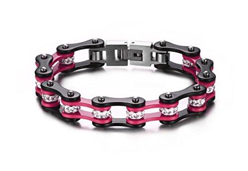 Vnox Pulsera de la cadena de la bici de los hombres pesados del acero inoxidable de la joyería para los hombres,rosado y negro