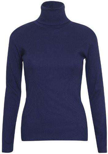 Purple Hanger - Pull Extensible Femme Uni, Manche Longue Col Haut Retourné Grande Taille Bleu Marine