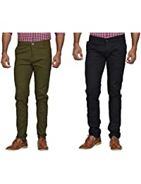 Kushsection Green Trousers & Black Trousers Cotton Trousers Combo Solid Trousers F14S15 (Pack Of 2 Casual Trousers)