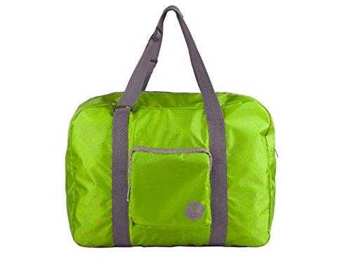 WANDF Foldable Travel Duffel Bag Faltbare Reisetasche Gepäck Sport Fitnessstudio Wasserresistent(nicht wasserdicht, sondern wasserresistent, abstoßender Stoff) Nylon Grau Grün