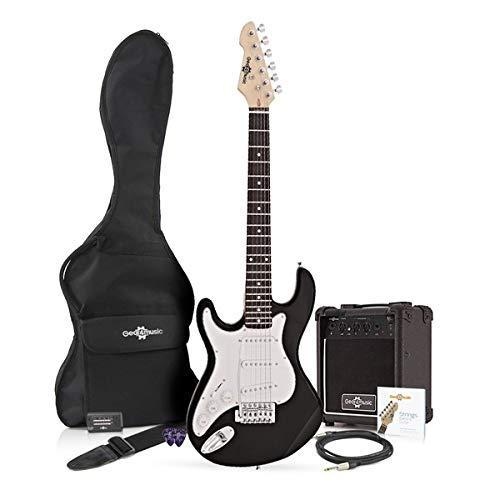 Guitarra Eléctrica LA 3/4 Zurda + Paquete de Amplificador de 10 W Negro
