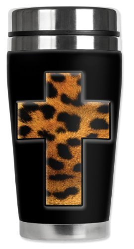 Mugzie Spotted Leopard Cross Travel Mug with Insulated Wetsuit Cover, 16 oz, Multicolor by Mugzie