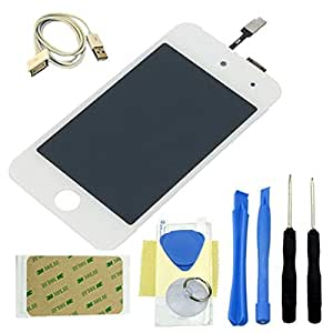 DBPOWER® Full LCD Screen Replacement & Digitizer with Glass Panel for IPod Touch 4th Gen 4G (Ipod touch 4G, white)