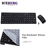 Iceberg Makers 2.4GHz Ultra-Thin Optical Wireless Keyboard and Mouse Combo Kit with USB