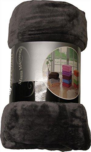 ForenTex - Manta de sedalina, (LI-180 GRIS), Ultra suave, microseda, para abrigarte con estilo y confort, 180 x 220 cm, 1 kg. No suelta pelo. Para sofá y cama. 1-4 mantas paga solo un envío, descuento equivalente antes de finalizar la compra.