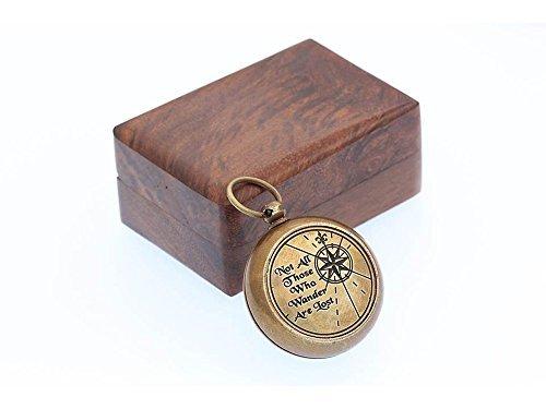 Roorkee Instruments India Halskette Kompass, Messing, mit Kette und Ledertasche